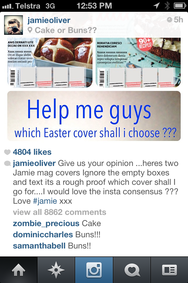 Who's great on Social Media? Jamie Oliver received 8,862 comments on Instagram today.