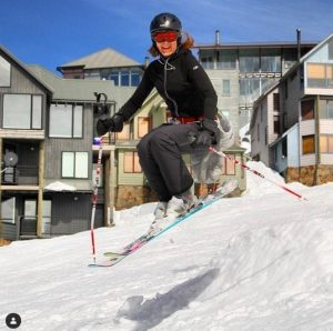 Runway Digital's Founder Samantha Bell ski jumping at Mount Hotham, Australia